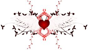 Winged Heart with floral decoration. Illustration that represents a black winged heart Royalty Free Stock Photos