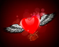 Winged heart gift Royalty Free Stock Image