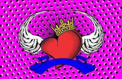 Winged heart ribbon tattoo background Royalty Free Stock Images