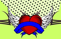 Winged Heart ribbon tattoo card Stock Image