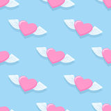 Winged heart seamless pattern. Background for Valentines day. H Royalty Free Stock Images