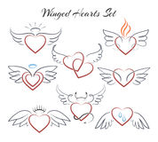 Winged heart set. Hearts with wings in doodle style vector illustration isolated on white background Stock Image