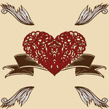 Winged Heart of Thorns Stock Photo
