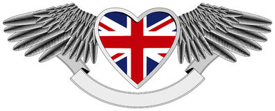 Winged heart with UK Flag. Winged heart with heraldic elements,  Union Jack  in the background, isolated vector illustrations Stock Photo