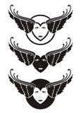 Winged hearts. With woman faces Royalty Free Stock Photo