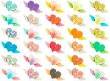 Winged-hearts. 30 colorful winged-hearts isolated on a white background Royalty Free Stock Photo