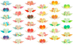 Winged-hearts. 36 colorful winged-hearts isolated on a white background Royalty Free Stock Images