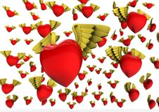 Winged hearts Stock Photo