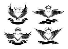 Winged Hearts Set Royalty Free Stock Image