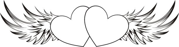 Winged hearts sticker Stock Image