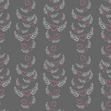 Winged hearts valentine's day pattern Royalty Free Stock Image