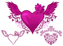 Winged hearts vector. Set of beautiful pink hearts - elements for Valentine\'s Day design Stock Photos