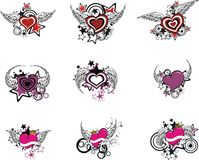 Winged hearts vector set. Winged hearts set in vector format vector illustration