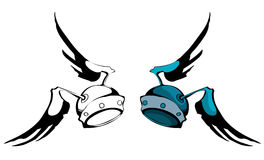Winged Helmet, Colored and Outline Version. Royalty Free Stock Photos