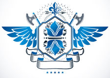 Winged heraldic sign made with vector elements, heraldry insigni Royalty Free Stock Image