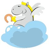 The winged horse on a cloud 006 stock illustration