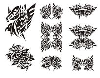 Winged horse-eagle symbols in tribal style Stock Image