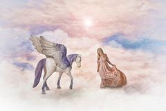 Pegasus and woman. Winged horse and female in clouds stock illustration