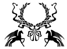 Winged horses with laurel wreath Stock Photography