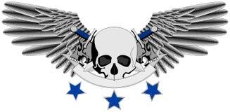 Winged Human Skull logo with swords Royalty Free Stock Photo