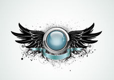 Winged insignia. Vector illustration of winged insignia or badge with banner, perfect for you to place your text Stock Photography