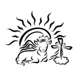 Winged Lamb in a crown, with a cross, a heart and a shining sun.  royalty free illustration