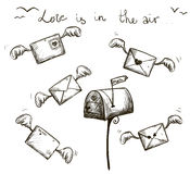 Winged letters, mailbox. St. Valentines post. Royalty Free Stock Photos