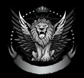 Winged Lion Badge or Crest. Round black and silver crest design with winged lion, stars, crown and banner Royalty Free Stock Photography