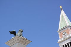 Winged Lion and Campanile. Of San Marco, Venice, Italy Stock Photography