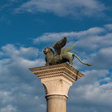Winged Lion Column in St. Mark's Square, venice, Italy Royalty Free Stock Image