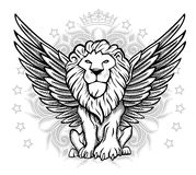 Winged Lion Front View Drawing. Black and white lion front view with wings emblem Royalty Free Stock Image