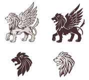 Winged Lion Illustration Stock Photos