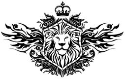 Winged Lion Insignia. Black & White lion emblem on shield with some ornate Royalty Free Stock Photography