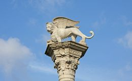 Winged Lion marble symbol of the Venice Royalty Free Stock Images