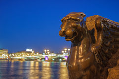 Winged lion on Neva embankment, Saint Petersburg, Russia Stock Photo