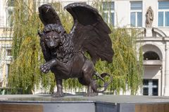 Winged Lion in Prague. Monument to military pilots of Czechoslovakia who fought during the Second World War. PRAGUE, CZECH REPUBLIC - OCTOBER 09, 2018: Winged stock photography