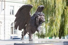 Winged Lion in Prague. Monument to military pilots of Czechoslovakia who fought during the Second World War. PRAGUE, CZECH REPUBLIC - OCTOBER 09, 2018: Winged royalty free stock image