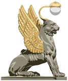 Winged Lion from Saint-Petersburg in vector. Winged Lion from Saint-Petersburg Bank Bridge, Russian landmark vector illustration Royalty Free Stock Photography