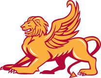 Winged Lion Side Retro Royalty Free Stock Photography