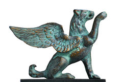 Winged lion statue. Bronce statue depicting a winged lion Stock Image
