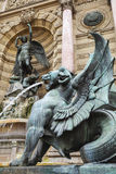 Winged lion statue, Fontaine Saint-Michel in Paris, France Royalty Free Stock Photography