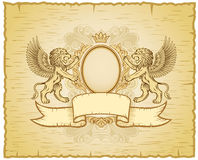 Winged Lions old-fashioned Insignia Stock Image