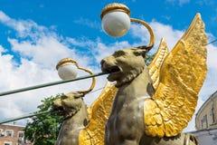 Winged lions in Saint Petersburg Stock Photos