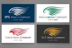 Winged logo company card set. Vector business label with wing Royalty Free Stock Image