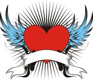 Winged love tattoo Stock Image