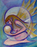 Winged maiden. Metallic painting of a winged maiden holding a white ball of light Royalty Free Stock Images