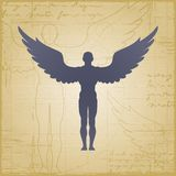 Winged man Stock Photo
