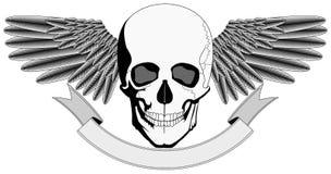 Winged menschliches Schädelzeichen Stockbilder
