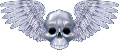 Winged metallic skull motif stock images