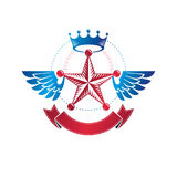 Winged military Star emblem created with imperial crown and luxu Stock Photography